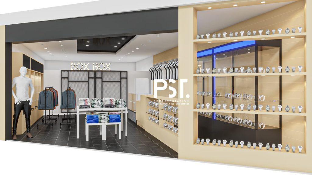 ภาพตัวอย่างานเรนเดอร์ 3D Perspective ออกแบบภายในร้านเสื้อผ้า