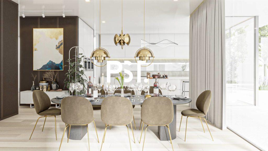 ภาพตัวอย่างานเรนเดอร์ 3D Perspective ออกแบบภายในห้องนั่งเล่น