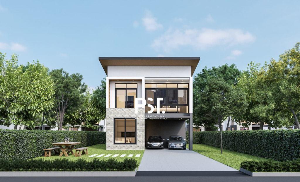 ภาพตัวอย่างานเรนเดอร์ 3D Perspective ออกแบบภายนอก โครงการบ้านจัดสรร