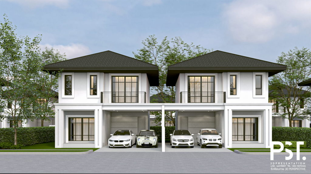 ตัวอย่าง งานเรนเดอร์อาคารภายนอก บ้านจัดสรร