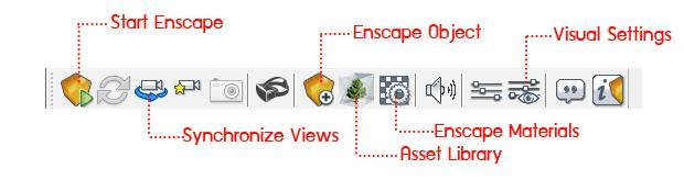 ตัวอย่างหน้าต่างโปรแกรม Enscape และ เครื่องมือหลักๆที่ใช้