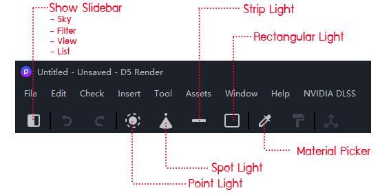 ตัวอย่างหน้าต่างโปรแกรม D5 และ เครื่องมือหลักๆที่ใช้